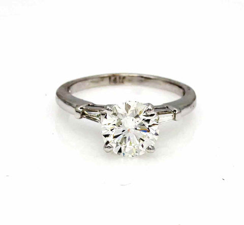 Moissanite Engagement Ring, 1 Carat Brilliant Cut Forever One Moissanite & .20 Carat Baguette Diamond, Anniversary - FOJRER539