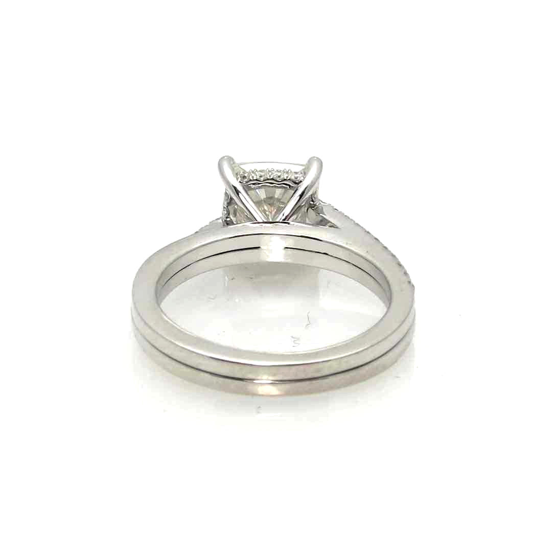 Cushion Cut Moissanite Engagement Ring, Unique Solitaire 2 Carat Forever One Moissanite Stone & .27 Carat Diamonds, Anniversary Ring - FBV050116