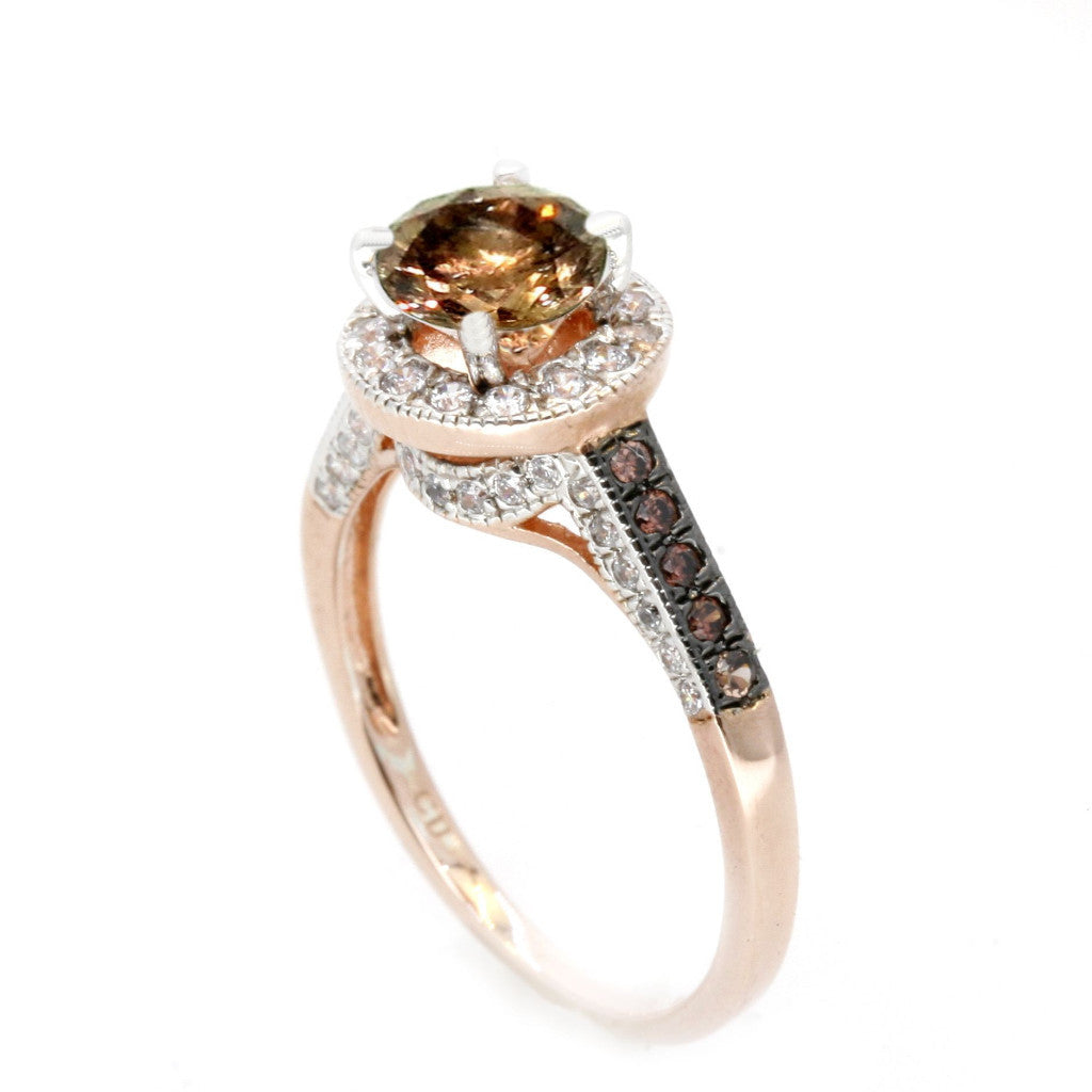 1 Carat Fancy Brown Smoky Quartz Floating Halo Rose Gold, White & Fancy Brown Diamond Accent Stones Engagement Ring, Anniversary Ring - SQ94613
