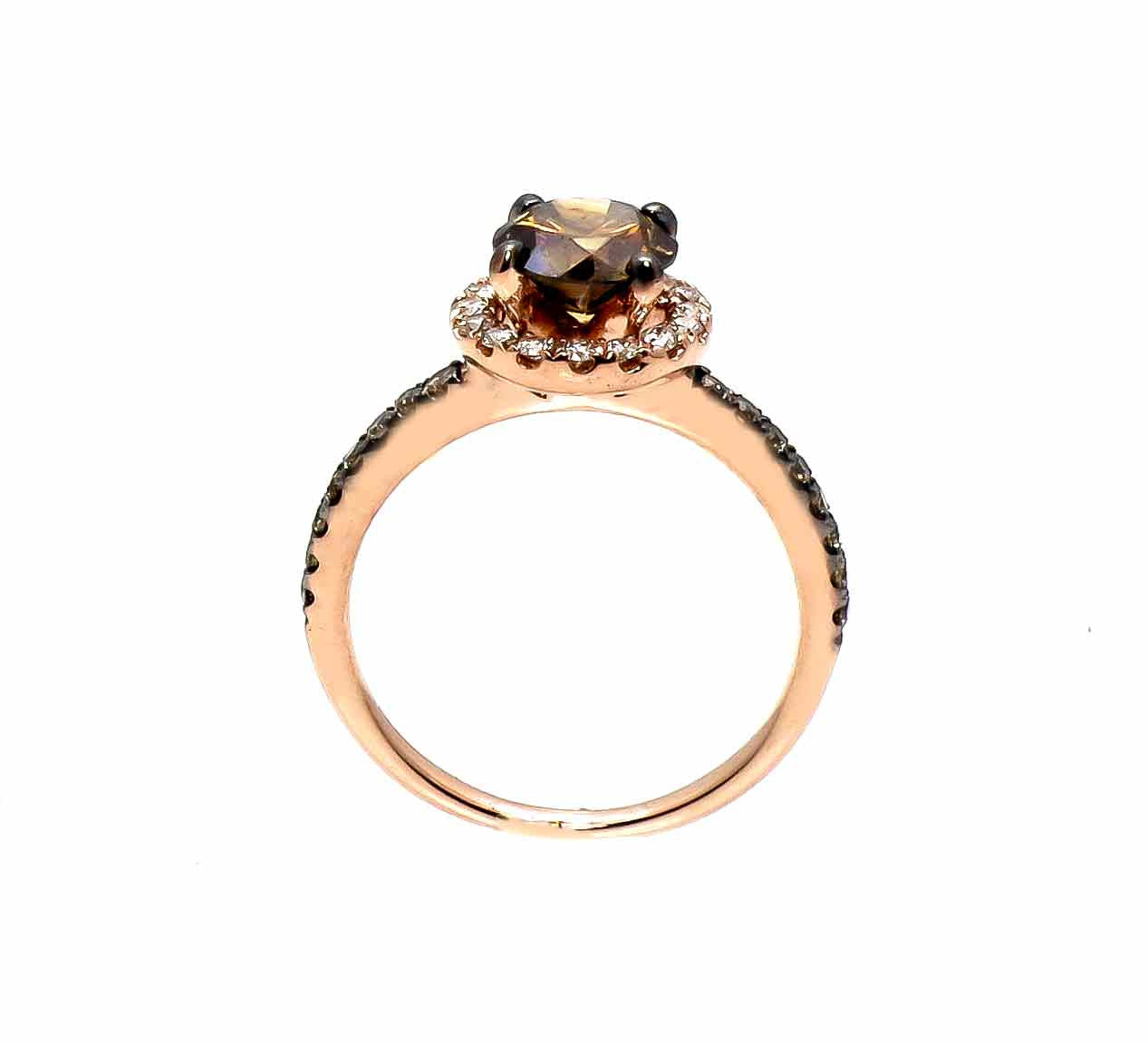1 Carat Chocolate Brown Diamond Halo, White Diamond Accent Stones, Rose Gold, Engagement Ring, Anniversary Ring - BD94639A