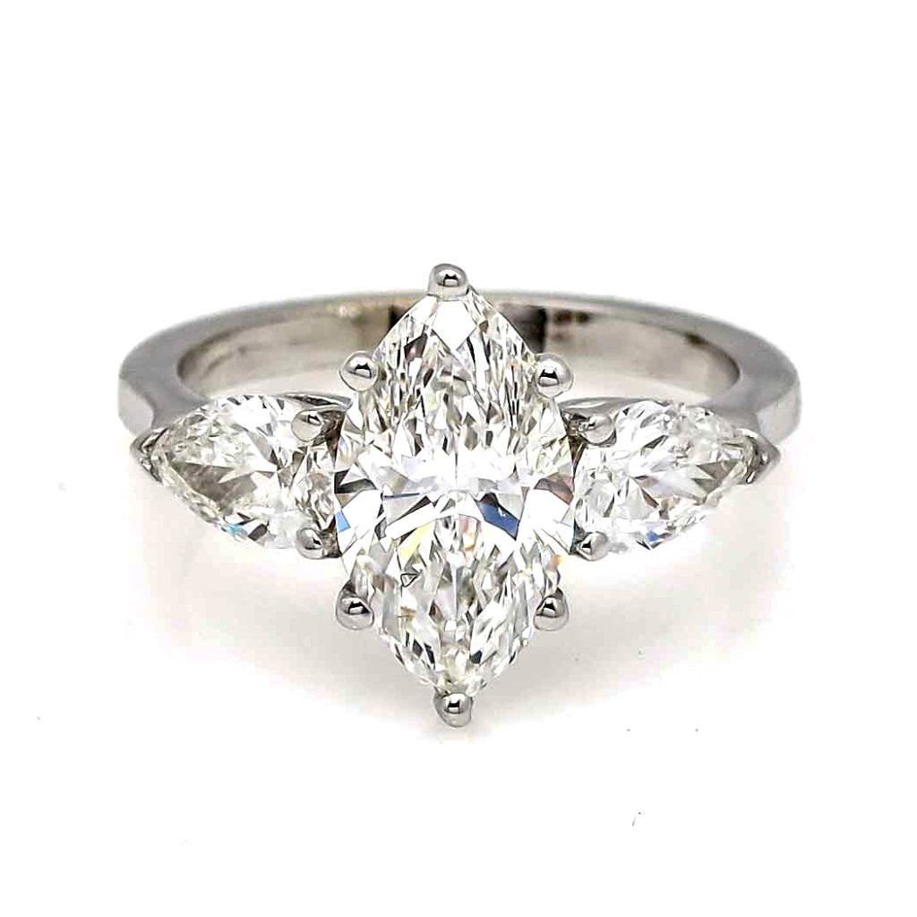1 Carat Marquise Cut NEO Moissanite Engagement Ring With 2 Pear Shaped NEO Moissanites On The Sides - NEOMQ3SR