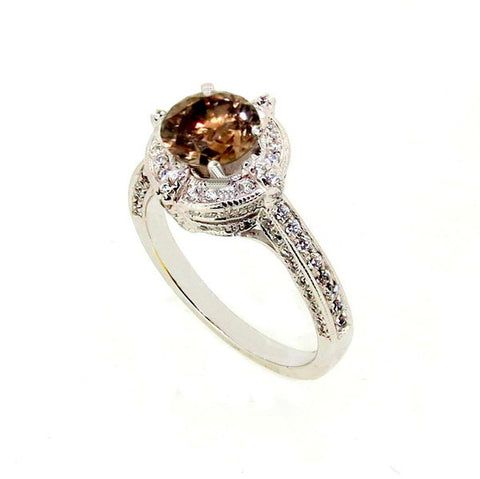 1 Carat Chocolate Brown Diamond Engagement Ring, Anniversary Ring, Floating Halo, Art Deco - BD85035