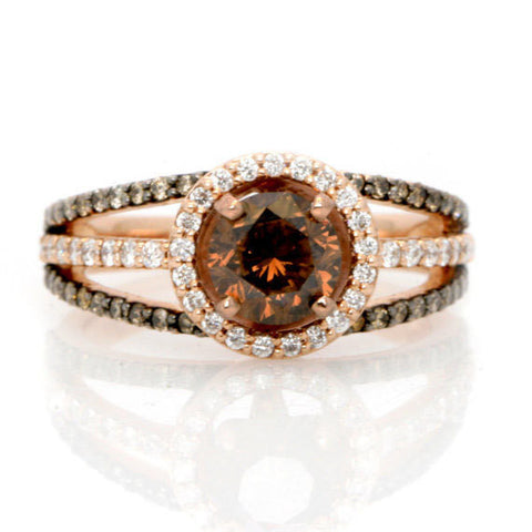 1 Carat Chocolate Brown Smoky Quartz  Unique White & Chocolate Brown Diamonds, Floating Halo Engagement Ring , Rose Gold, Anniversary Ring - SQ94646