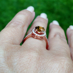1 Carat Chocolate Brown Diamond Halo, White Diamond Accent Stones, Rose Gold, Engagement Ring, Anniversary Ring - BD85037