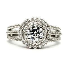 1 Carat Double Halo Forever Brilliant Moissanite Engagement Ring, Unique Triple Shank Ring with .82 Carat Diamonds - FBY11295