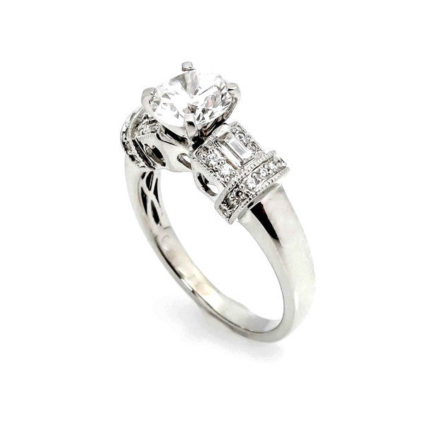 1 Carat Forever Brilliant Moissanite & .35 Carat Diamonds, Unique Design Engagement Ring, Anniversary Ring - FB73929