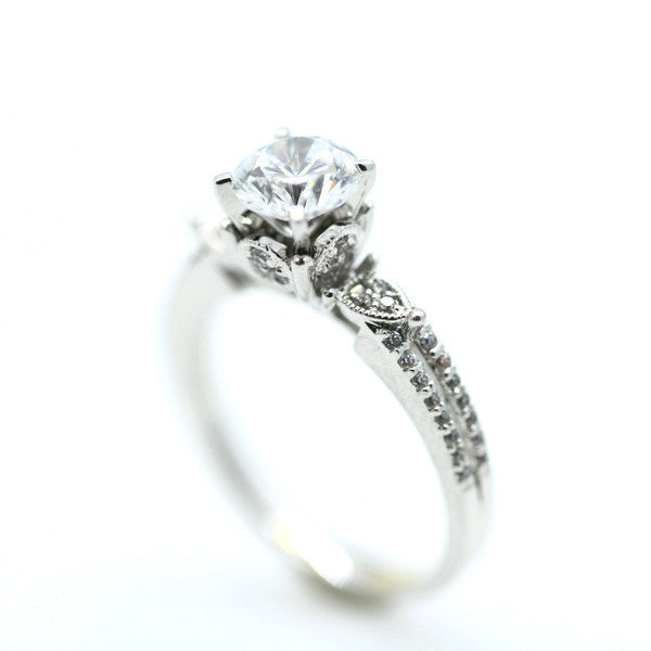 1 Carat Forever Brilliant Moissanite, Engagement Ring,14k White Gold, Rose Gold,Yellow Gold,18k Gold,Platinum - FB85048