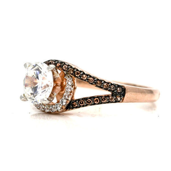 Unique 1 Carat Forever Brilliant Moissanite Floating Halo Rose Gold Engagement Ring, .27 Carat White & Brown Diamonds, Split Shank - FB94648ER