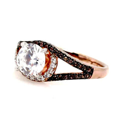 Unique 1 Carat Forever Brilliant Moissanite Floating Halo Rose Gold Engagement Ring, .27 Carat White & Chocolate Brown Diamonds, Split Shank - FB94648ER
