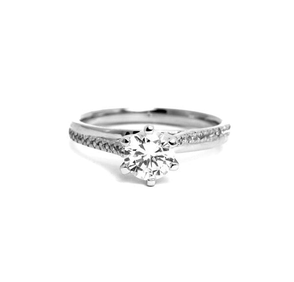 1 Carat Forever One Moissanite, With .14 Carats Diamond, Engagement Ring,14k White Gold, Rose Gold,Yellow Gold,18k Gold,Platinum - FBY11578SE