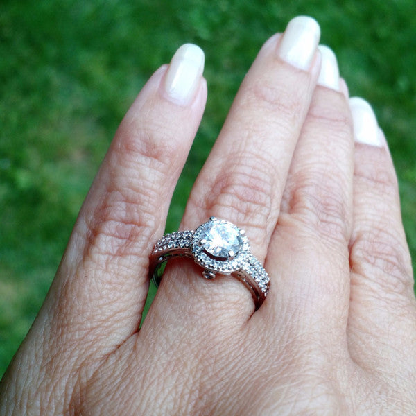 1 Carat Halo Forever Brilliant Moissanite Engagement Ring, Unique Double Shank, 14k Gold With .40 Carat Diamonds, Anniversary Ring - FB60211