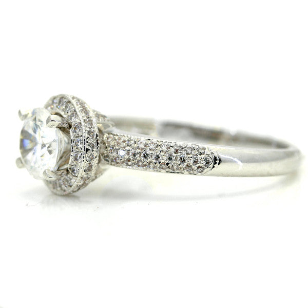 1 Carat Moissanite Center Stone, .40 Carat Diamonds Accent Stones, Unique Halo Engagement Ring, Anniversary Ring - FB85029