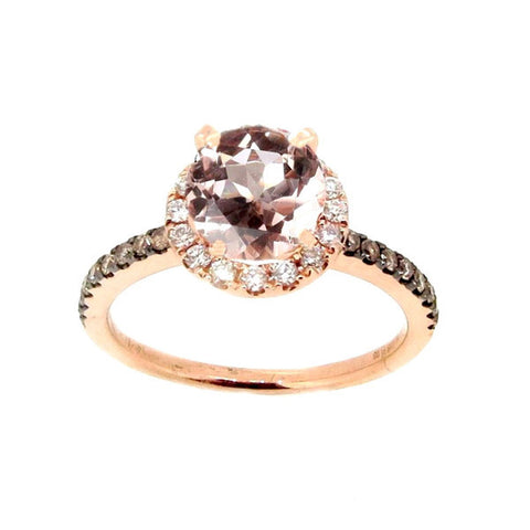 1 Carat Morganite & .32 Carat Diamonds Halo,Fancy Brown Diamond Accent Stones, Rose Gold, Unique Engagement Ring - MG94639A