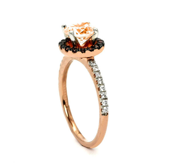 1 Carat Morganite, Fancy Brown Diamond Halo, White Diamond Accent Stones, Rose Gold, Engagement Ring - MG94639