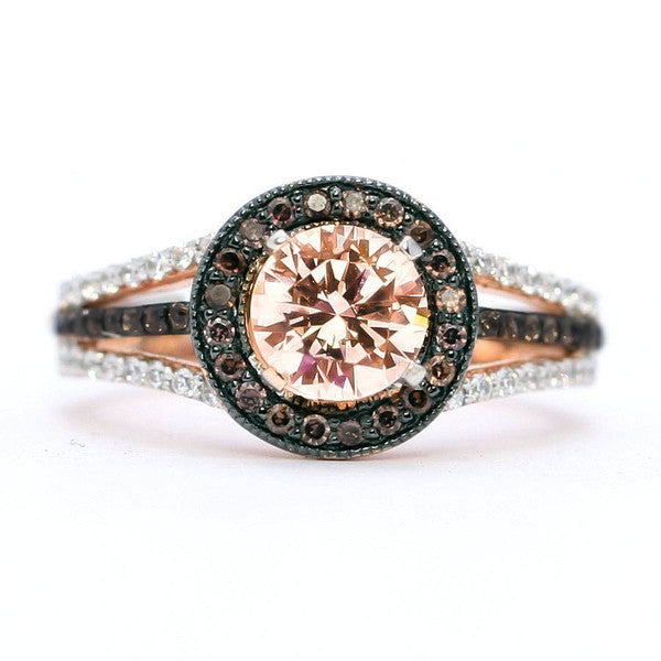 Semi Mount Engagement Ring For 1 carat Stone Floating Halo Rose Gold, White & Chocolate Color Brown Diamonds, Anniversary Ring - 94657