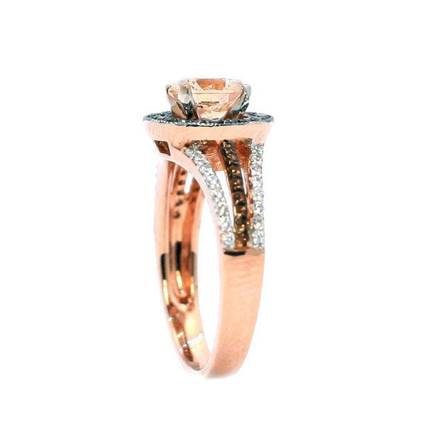 1 Carat 6.5 mm Morganite  Engagement Ring, Floating Halo Rose Gold, White & Brown Diamonds, Anniversary Ring - MG94657