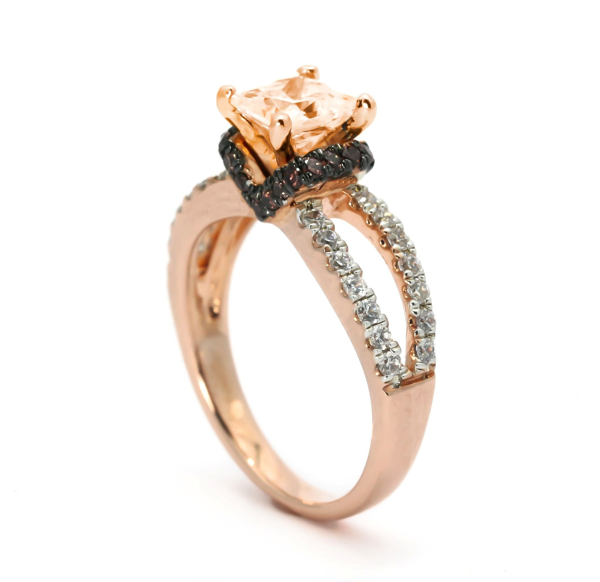 Unique 1 Carat Princess Cut Morganite Floating Halo Rose Gold Engagement Ring, .52 Carat White & Fancy Brown Diamonds, Split Shank - MG94624
