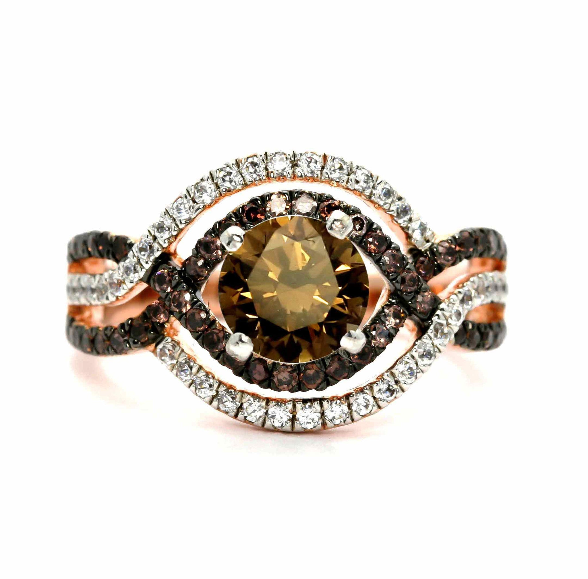 Unique Halo Infinity 1 Carat Fancy Brown Diamond Engagement Ring with Rose Gold, White & Brown Diamond Accent Stones, Anniversary Ring - BD94616