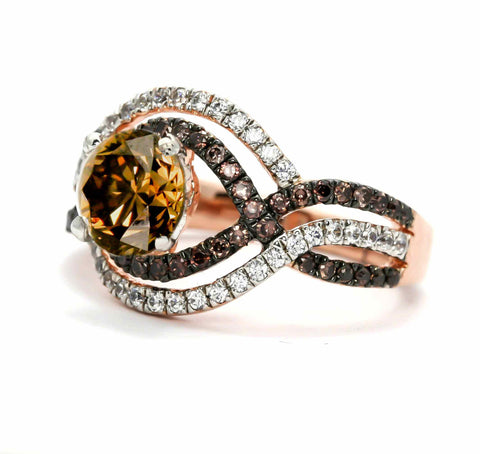Unique Halo Infinity 1 Carat Chocolate Brown Smoky Quartz Engagement Ring with Rose Gold, White & Brown Diamond Accent Stones, Anniversary Ring - SQ94616