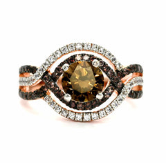 Unique Halo Infinity 1 Carat Fancy Brown Smoky Quartz Engagement Ring with Rose Gold, White & Brown Diamond Accent Stones, Anniversary Ring - SQ94616