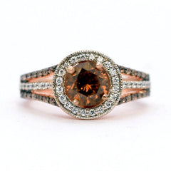 1 Carat Chocolate Brown Diamond Engagement Ring, Floating Halo Rose Gold, White & Chocolate Color Brown Diamonds, Anniversary Ring - BD94627