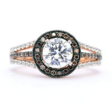 1 Carat Forever Brilliant Moissanite Engagement Ring, Floating Halo Rose Gold, White & Brown Diamonds, Anniversary Ring - FB94657