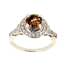 1 Carat Fancy Color Brown Diamond Engagement Ring, White Diamond Accent Stones, Anniversary Ring, Unique Art Deco Style - BD73085