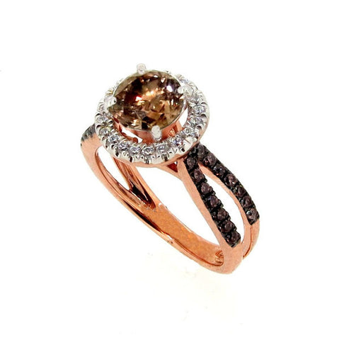 1 Carat Chocolate Brown Smoky Quartz, Unique White & Chocolate Brown Diamond, Floating Halo Engagement Ring, Rose Gold,  Accent Stones, Anniversary Ring - SQ94626
