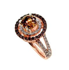 1 Carat Chocolate Brown Diamond Floating Halo Rose Gold Engagement Ring, White & Brown Diamond Accent Stones, Anniversary Ring - BD94640