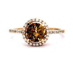 1 Carat Brown Diamond Halo, White Diamond Accent Stones, Rose Gold, Engagement Ring, Anniversary Ring - BD85037