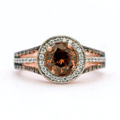 1 Carat (6.5 mm) Chocolate Brown  Smoky Quartz, White & Chocolate Brown Diamonds, Floating Halo Rose Gold, Engagement Ring, Anniversary Ring - SQ94627