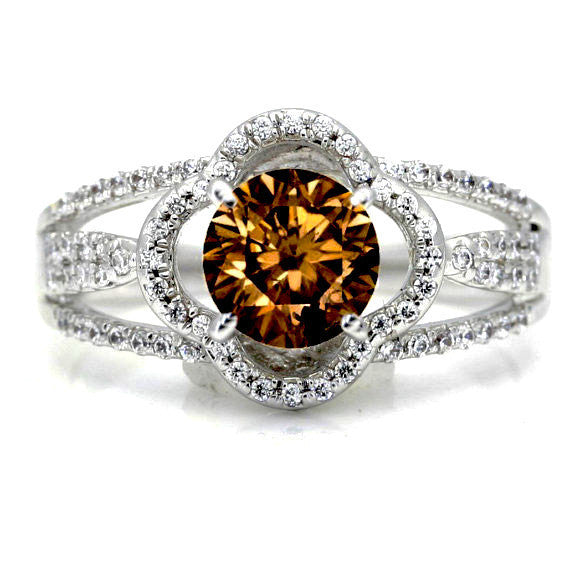 Floating Halo Engagement Ring, 1 Carat Fancy Brown Diamond,  with Diamond Accent Stones, Anniversary Ring - BD73096
