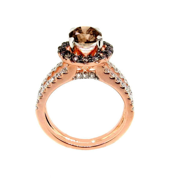 1 Carat Fancy Brown Smoky Quartz, White & Fancy Brown Diamond, Floating Halo Rose Gold, Engagement Ring, Anniversary Ring - SQ94625
