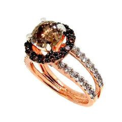 1 Carat Chocolate Brown Smoky Quartz, White & Chocolate Brown Diamond, Floating Halo Rose Gold, Engagement Ring, Anniversary Ring - SQ94625