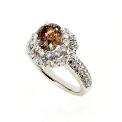 Double Halo Diamond Engagement Ring Setting With 1 Carat Chocolate Color Brown Diamond - BD78542