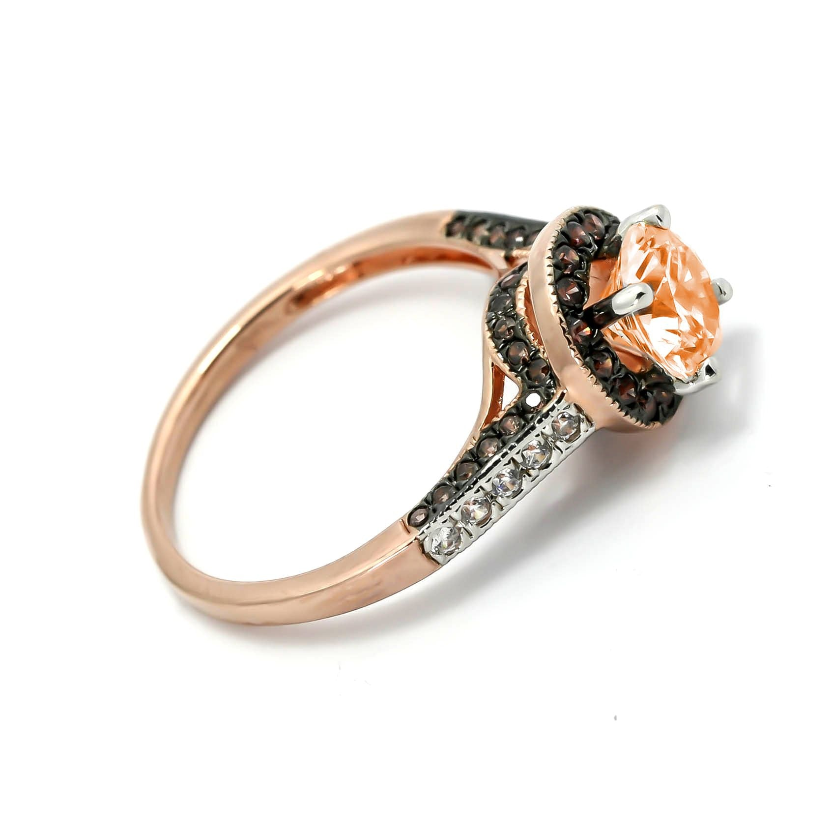 Morganite Engagement Ring, Unique 1 Carat Floating Halo Rose Gold, White & Brown Diamonds, Anniversary Ring - MG94641ER