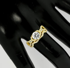"Split Shank Diamond Engagement Ring and Wedding Ring, Unique Wedding Set Design, 6.5 mm ""Forever Brilliant"" Moissanite Anniversary Ring - FBY11572"