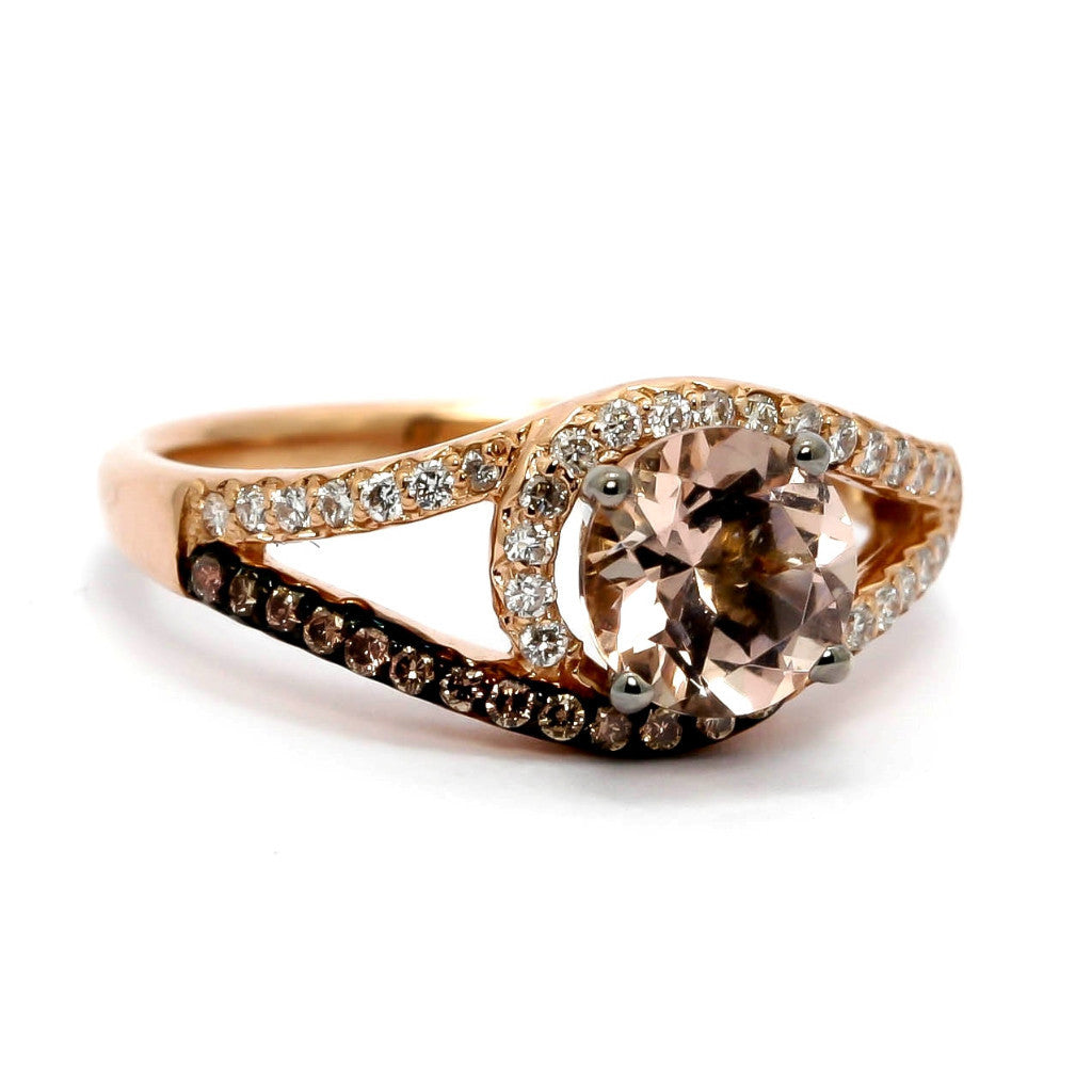 Halo Rose Gold, White & Brown Diamonds, 1 Carat Morganite Center Stone, Engagement Ring - MG94618ER