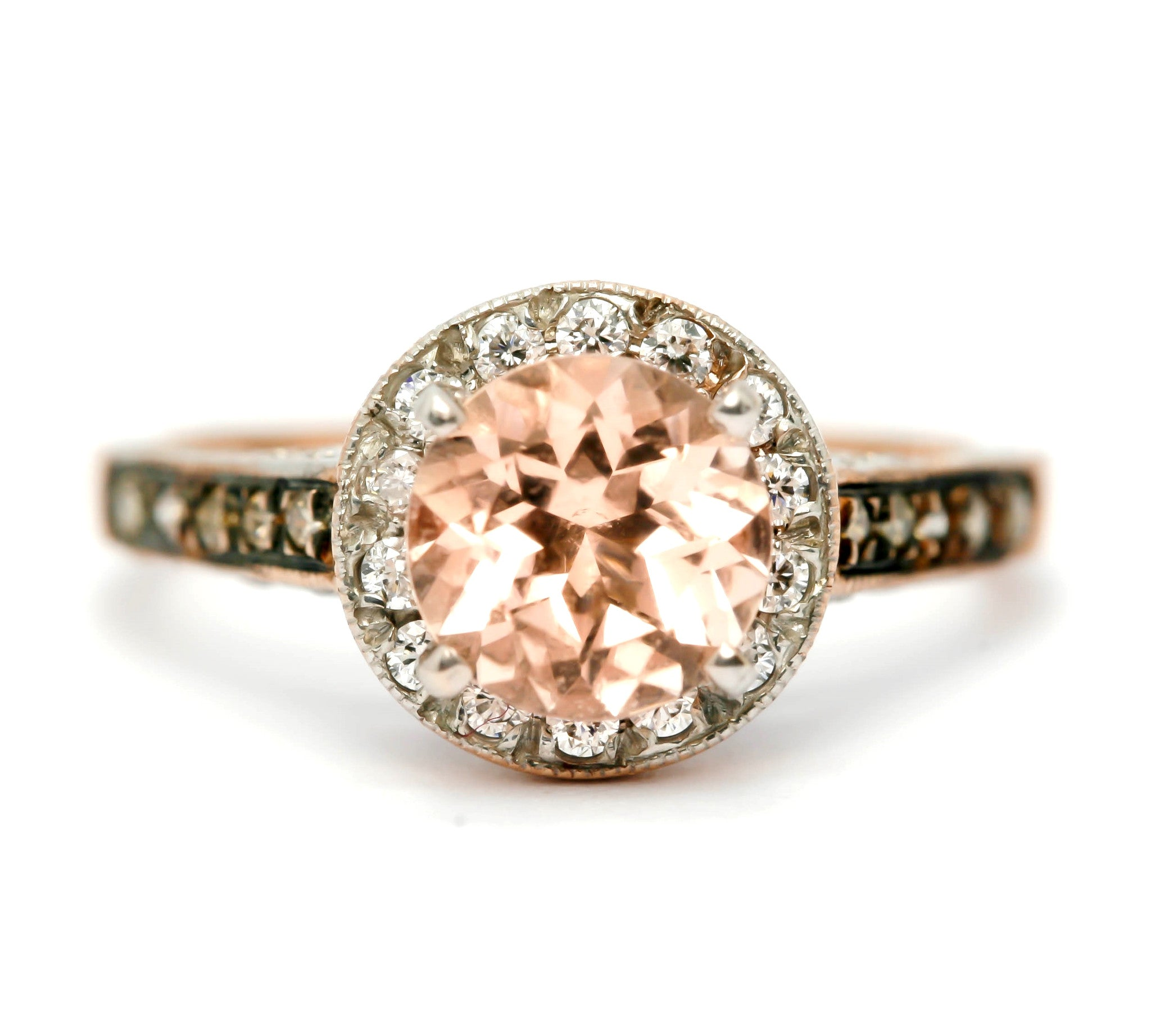 Morganite Engagement Ring, Unique 1 Carat Floating Halo Rose Gold, White & Chocolate Brown Diamonds, Anniversary Ring MG94613