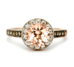 Morganite Engagement Ring, Unique 1 Carat Floating Halo Rose Gold, White & Brown Diamonds, Anniversary Ring MG94613