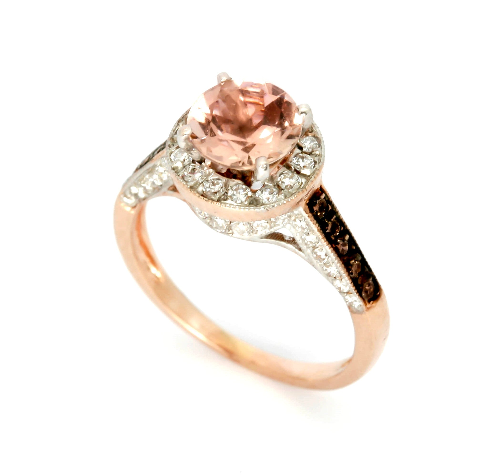 wedding rings gold morganite img pear rose ring halo shape engagement