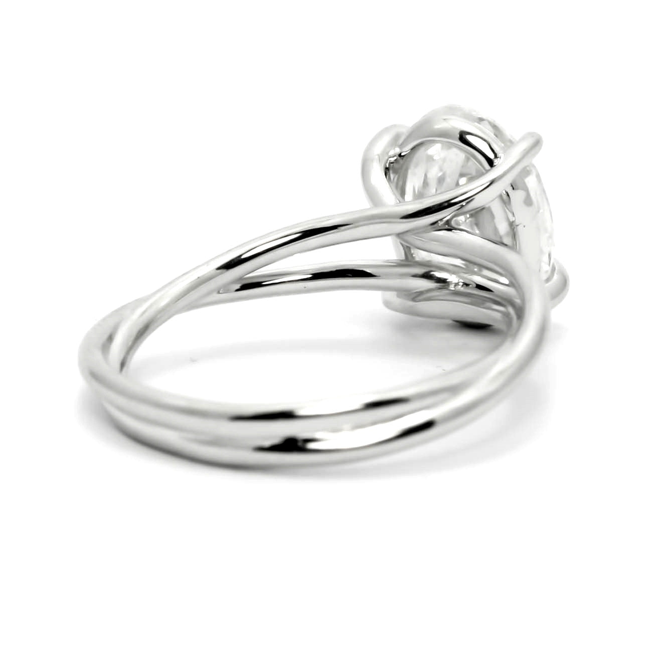 Unique 1.5 Carat Oval Forever One Moissanite Engagement Ring Twisted Shank - OFBV0015