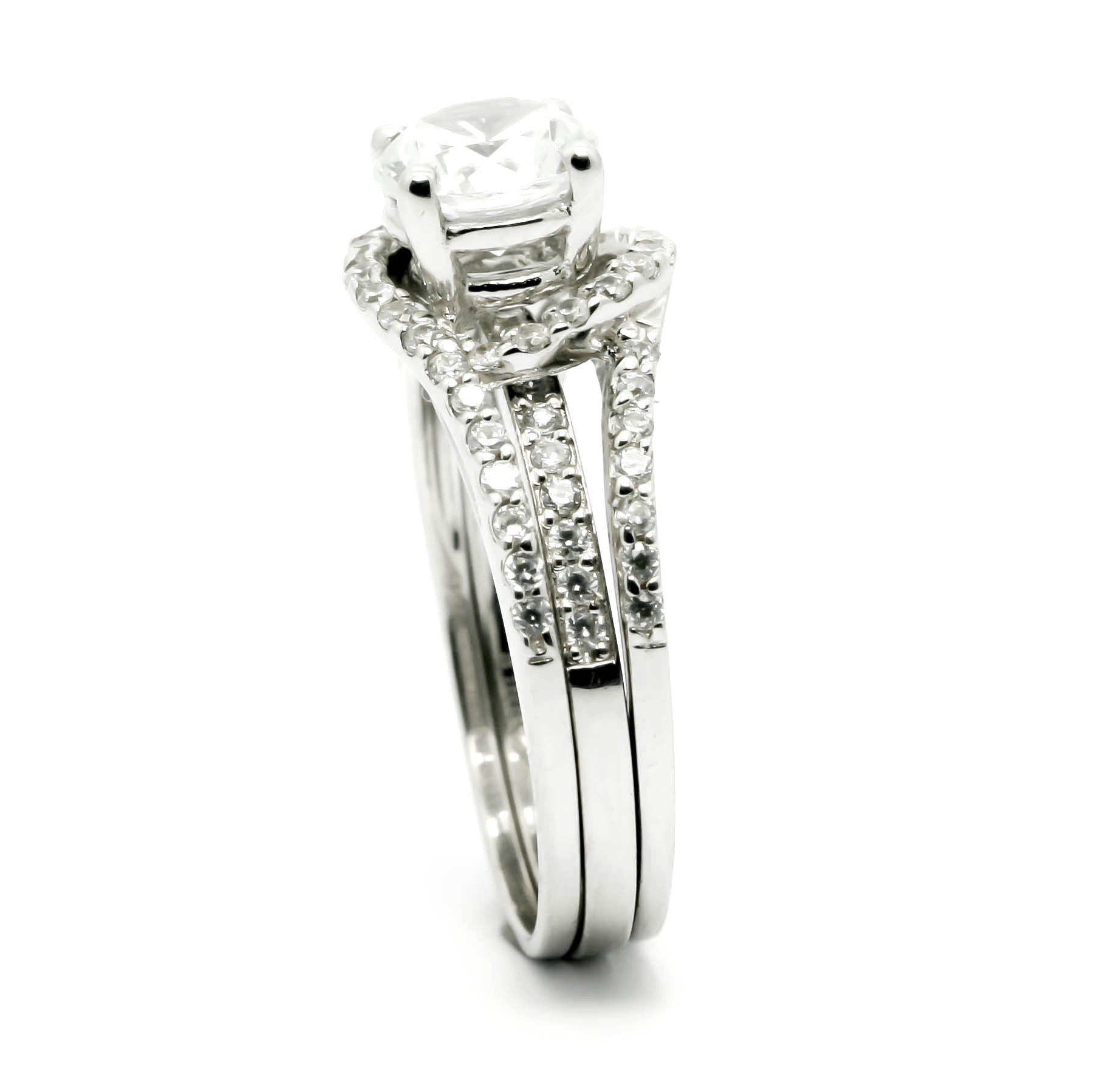 Semi Mount Floating Halo Engagement Ring With .47 Carat White Diamonds, For 1-1.25 Carat Center Stone, Split Shank - Y11580SE