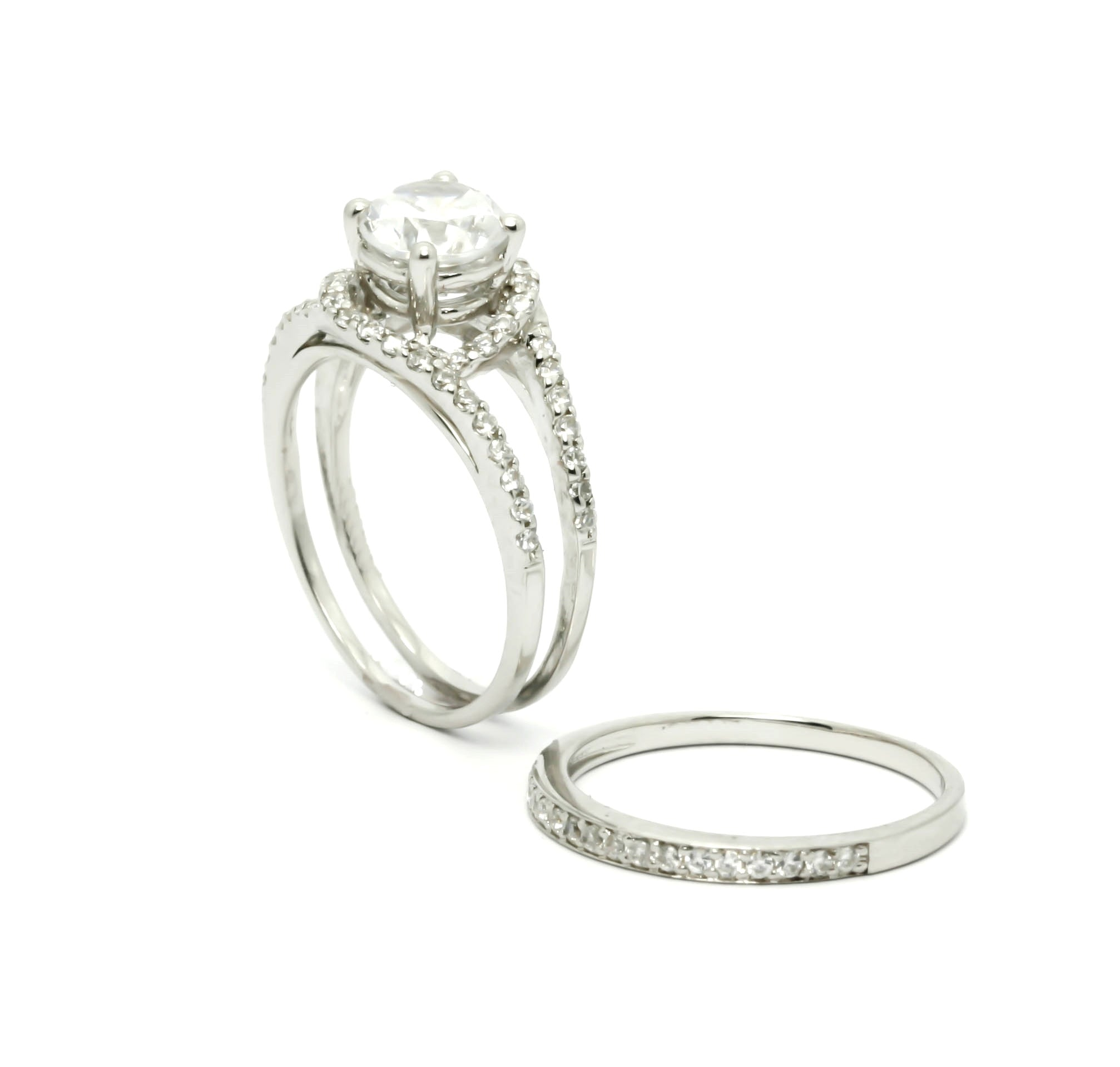 Semi Mount Unique Halo And Split Shank Design, Diamond Engagement/Wedding Set, For 1 Carat Center Stone Anniversary Ring - Y11580