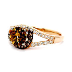 Unique 1 Carat Chocolate Brown Smoky Quartz Floating Halo Rose Gold, White & Brown Diamond Engagement Ring, Split Shank, Anniversary Ring - SQ94618ER