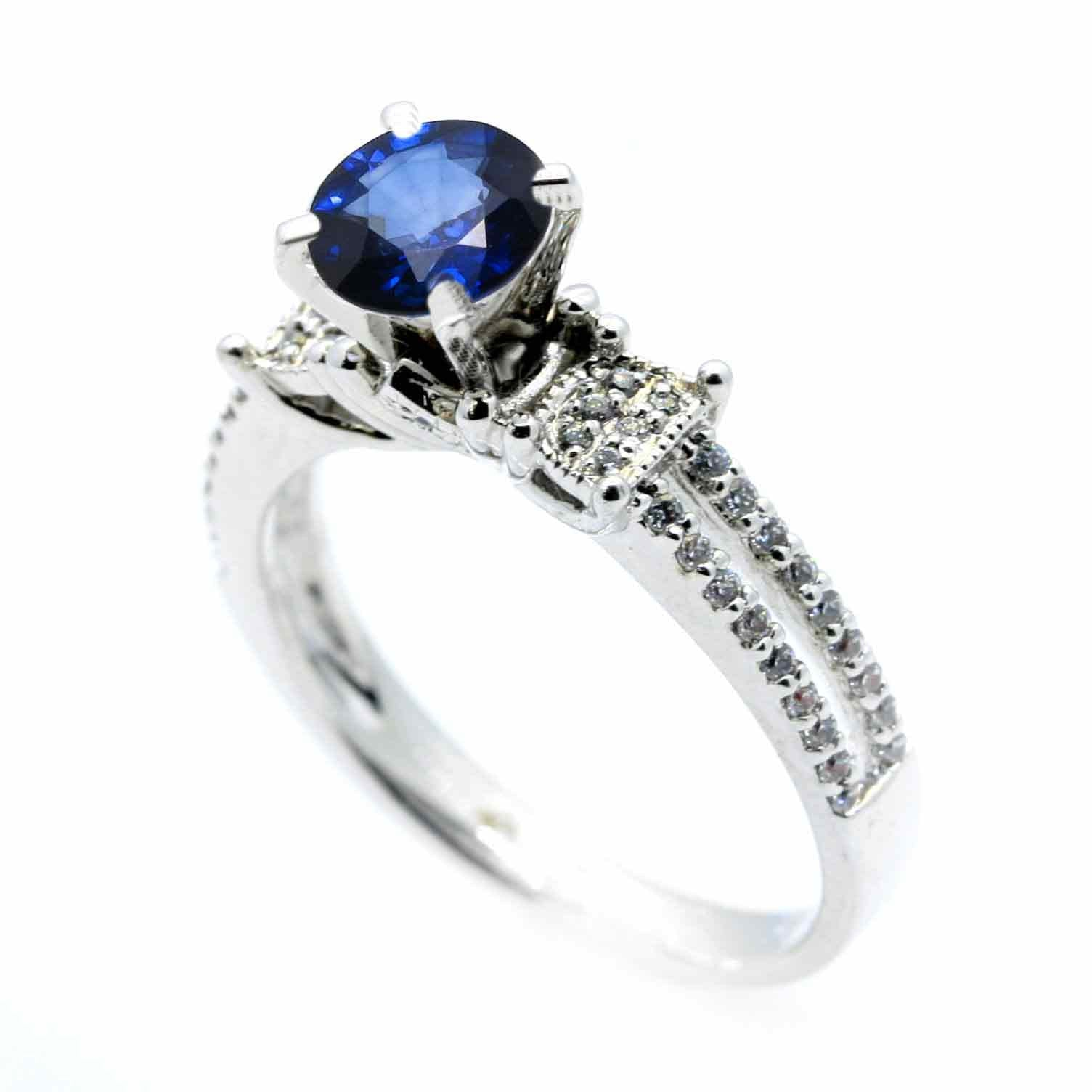 nava h sapphire vs diamond blue in platinum halo g and solitaire ring