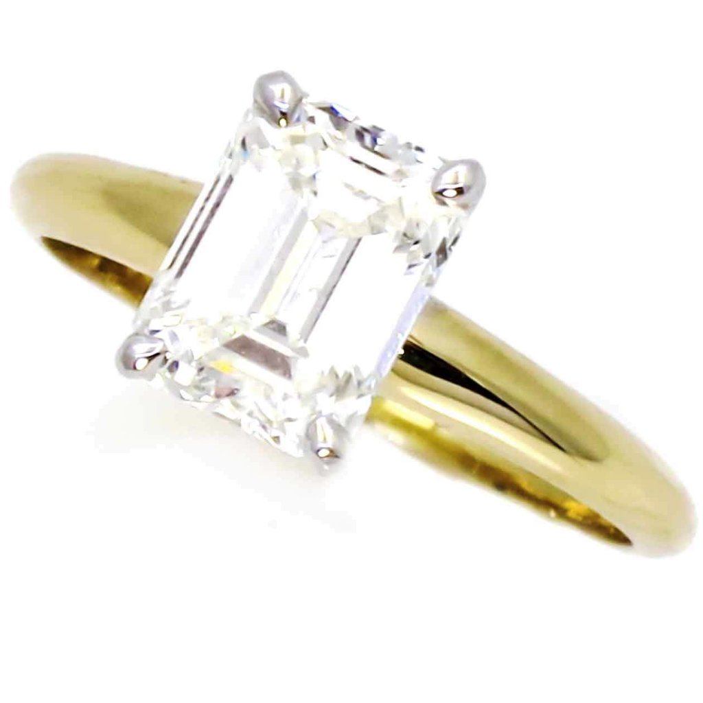 14k Gold, 1.75 Carat 8x6 mm Emerald Cut Forever One Moissanite Engagement Ring -F1ECR14-26