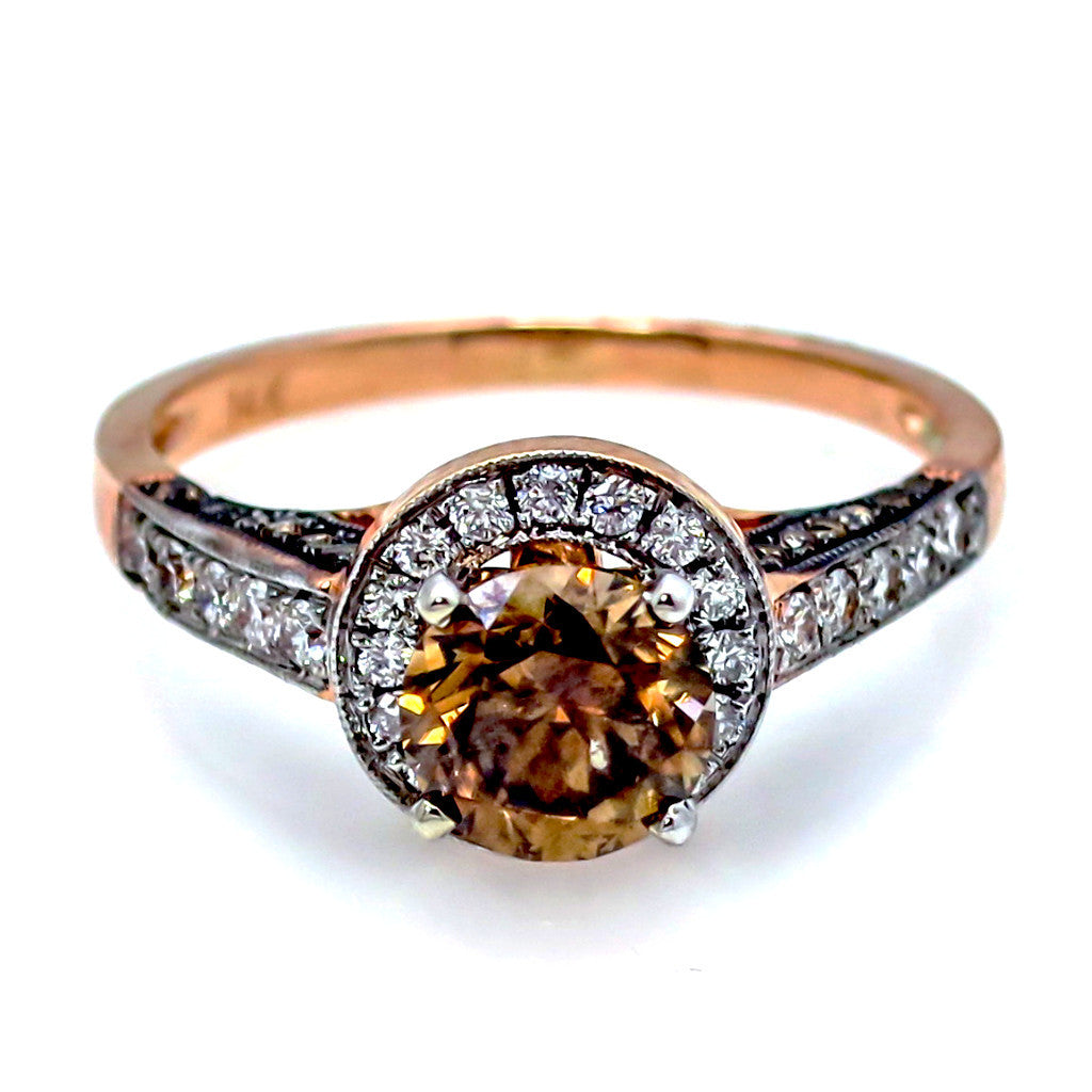 1 Carat Fancy Brown Diamond Floating Halo Rose Gold, White & Fancy Brown Diamond Accent Stones Engagement Ring, Anniversary Ring - BD94613ER