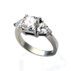 2 Carat Cushion Cut F1 Moissanite Engagement Ring With 2 Triangle Moissanites On The Sides - FO2UENR364