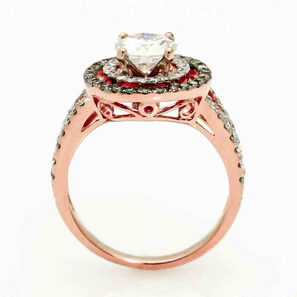 Double Halo Rose Gold, 1 Carat Forever Brilliant Moissanite Engagement Ring With .62 Carat Of White & Chocolate Brown Diamonds, Split Shank - FB94640